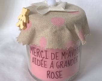 Candle thank nanny linen personalized pink polka-dot