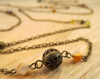 Extra Long Antique Bronze Wrap Necklace | long necklace, autumn necklace, multi-strand necklace, bead necklace, layering necklace
