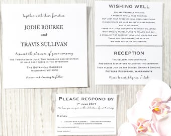 Personalised Wedding Invitation Set With Wishing Well, RSVP, Reception & Envelope.