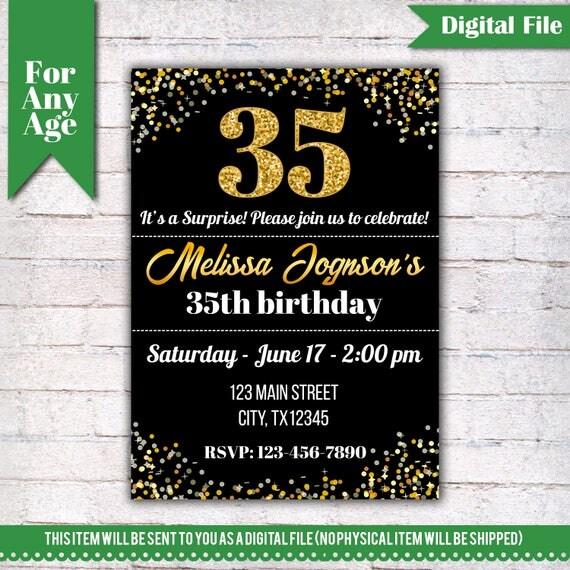 35th Birthday Invitation Birthday Party Invite Printable