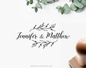 Wedding stamp with names • Custom wood stamp • Wedding Logo • DIY wedding • Greenery Wedding • Rustic Wedding Decor