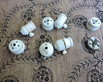 Lot of vintage porcelein light socket parts