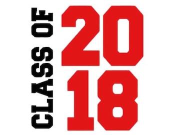 Class of 2018 iron on , Iron on 2018 , Graduation iron on