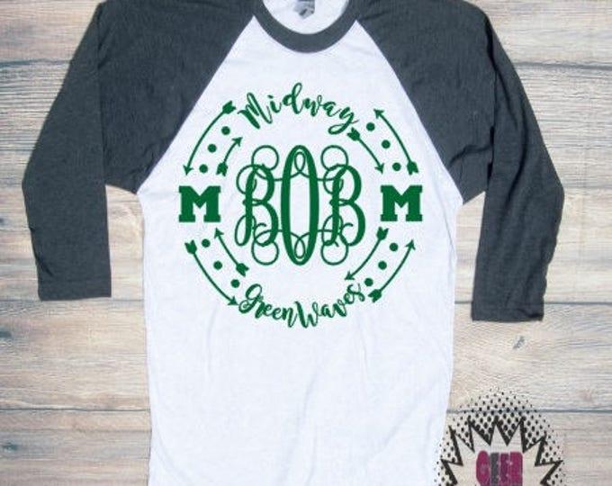 midway monogram Tshirt football Youth Kid Child Unisex Cotton   t-shirt vinyl