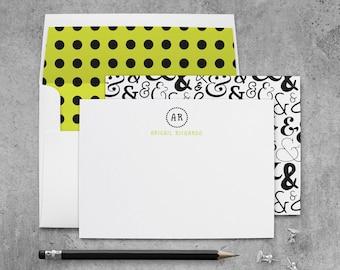 Monogrammed Stationery Set, Monogram Personalized Note Cards, Personalized Stationary Set, Ampersand Gift, Initial Note Cards Monogram