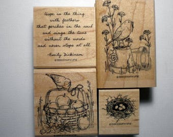 Set of 4 rubber stamps from Feathered Hope, Stampin' Up,1998, retired, pay it forward,