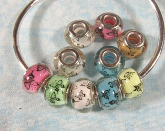 10 Assorted Color Resin Euro Style Beads with Butterflies (B491h)