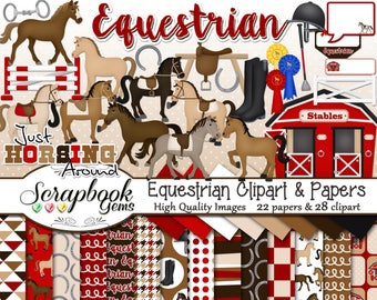 EQUESTRIAN Clipart and Papers Kit, 28 png Clip Arts, 22 jpeg Papers Instant Download horses stable riding horseback first place saddle crop