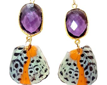 Real Handmade Butterfly Wing Earrings - Dingy Purple Butterfly - Real Butterfly Wing Jewelry