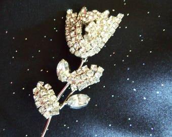 Rhinestone Brooch - Rhinestone Flower Pin