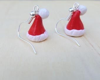 Polymer Clay Santa Hat Dangle Earrings