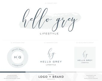 Watercolor Logo Design Photography Logos Branding Kit with Grey Logo and Photography Watermark - Premade Logos Branding Package