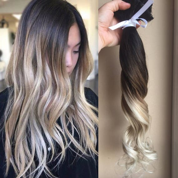 Ombre Hair Extensions Balayage Hair Extensions Wedding Hair - Dark brown ombre hairstyle to blonde