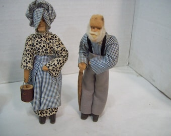 Hand Carved Wooden Man & Woman with Hand Sewn Clothing  FREE SHIPPING