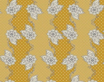 Art Gallery Fabric - Bari J LillyBelle Henna Stripe in Mustard Fabric - Summer Gray Yellow Fabric by the Yard - Sale Vintage Fabric Yards