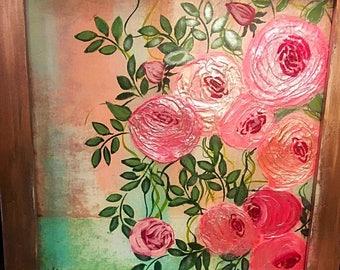 Blush pink vintage rose painting