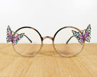 Embellished Round Glasses, Butterfly, Silver Frame, Sunnies Shades, Sunglasses Glasses Round Frame Glasses