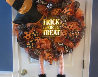 Orange and Black Trick or Treat Halloween Witch Wreath