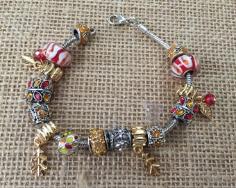 Charm bracelet, Fall bracelet, Rhinestone bracelet, Silver charm bracelet