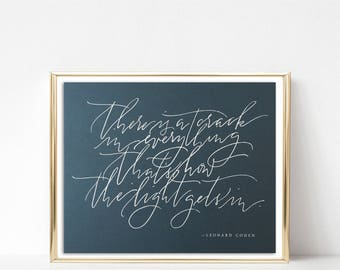 leonard cohen brush calligraphy print · limited run · leonard cohen quote · modern calligraphy fine art print · 8x10