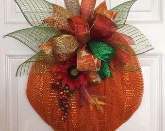 "18"" x 16"" Fall Deco Mesh Orange Pumpkin Wreath with Multi-Color Ribbon Bow & Sunflower Berry Sprig"