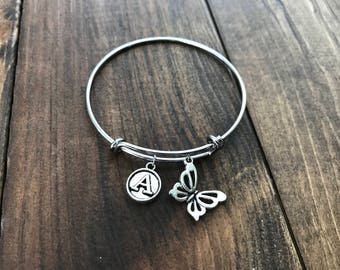 Butterfly Charm Bracelet - Gifts for Bridesmaid - Personalized Charm Bracelet - Stocking Stuffers - Butterfly Bracelet - Personalized Gift