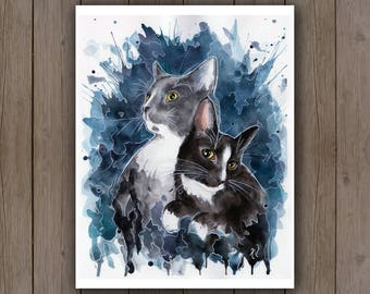 Watercolour Art Print - Grey & Black Tuxedo Cat Portrait / Pet Portrait Surreal Teal Blue Splatter Handpainted Watercolor Kittens Cat Lover