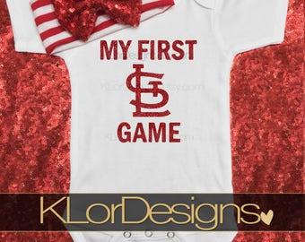 My  First Cards Game, STL baby shirt, cardinals baseball outfit, StL Cardinals, St Louis Cardinals newest fan