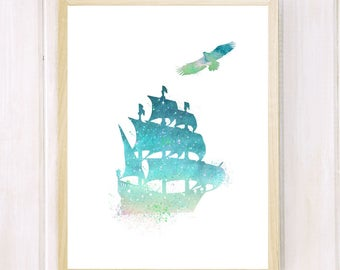 Watercolor  Old Ship Printable Antique Boat Poster Nautical Art  Nursey  Decor  Print Sail Boat Painting Decor Home  Print Instant Download.