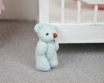 Teddy in the colour blue for the doll, the Dollhouse, miniature dollhouse miniatures
