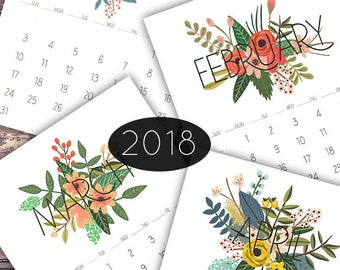 Floral Monthly Calendar, Monthly Calendar Printable, 2018 Printable Calendar, DIY Monthly Calendar, Floral Calendar Printable