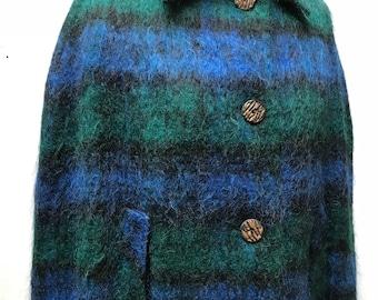 Vintage tartan mohair cloak cape size s|m