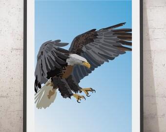 American Eagle art print. American Eagle illustration, Bird art, Bald Eagle art, Bird Illustration