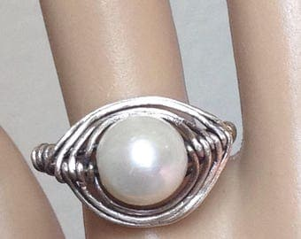 Genuine Freshwater Pearl Antique Sterling Silver Herringbone Wire Wrapped Ring Pearl Ring Antique Sterling Silver Ring Freshwater Pearl