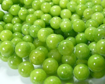10 jade colored 8mm lime green color