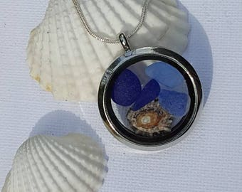 Sea glass glass locket, Blue sea glass, Living locket, shell, Beach finds, Rare Sea glass beach glass, uk sea glass
