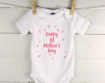 Mothers day baby outfit - 1st Mothers Day baby grow - first mothers day - baby girl vest - Happy 1st Mothers Day Geometric Pink Baby vest