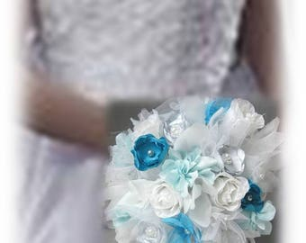 Bridal white, turquoise and gray bouquet fabric flowers handmade Lord