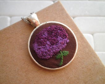 Embroidered Necklace - Purple Hydrangea Necklace - Plum Flower Fiber Art Embroidery Necklace - Embroidered Jewelry Holiday Gift For Her