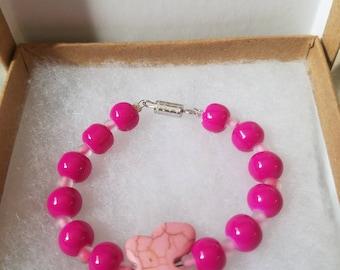 Pink Beaded Butterfly Bracelet