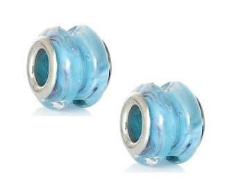set of 4 drum shape blue murano glass beads