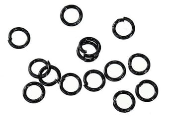Set of 50 rings open black metal 4 mm