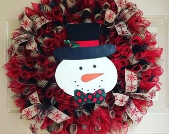 Snowman Wreath, Christmas Wreath, Winter Wreath, Holiday Wreath, Deco Mesh Wreath, Holiday Decor, Outdoor Wreath, Porch Wreath, Winter Decor