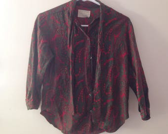 Vintage Green Red Paisley Blouse