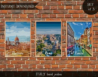Italy Travel Posters, Set of 3 Instant download Digital prints