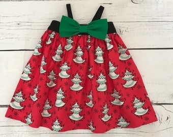 Christmas Tree Dress, Baby Girl Dress, Little Girl Dress, Holiday Dress,  Baby Christmas Dress, Toddler Dress, Big Bow Dress, Party Dress