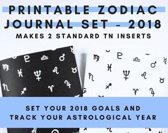 Printable 2018 Zodiac Journal Travelers Notebook Set