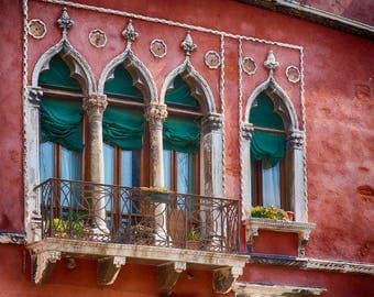 Venice Italy, Gothic Windows, Rustic Red Building, Balcony Flowers, Venice Italy Decor, Old Windows, Venice Art Photo