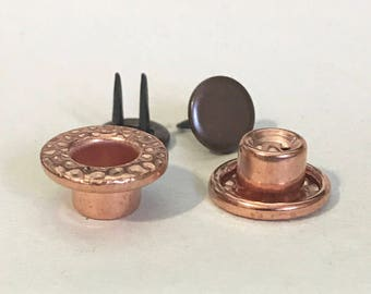 Raw copper 14mm Button Hammered [Set of 6]