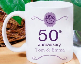 Very Very Beautifully Designed 50th Anniversary Personalized Mug